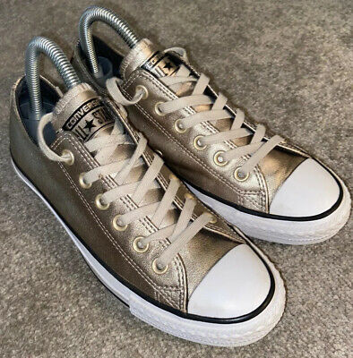 GOLD LEATHER CONVERSE ALL STAR TRAINERS SIZE UK 5 Eu 37.5