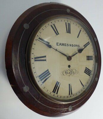 Eames & Sons Of Bath Antique Regency Fusee Wall Clock  Metal Inlaid Walnut Brass