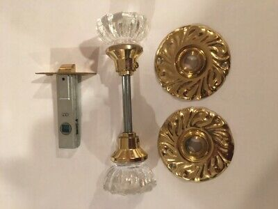 GLASS DOOR KNOBS WITH BRASS FINISH VINTAGE STYLE w Rosettes & hardware