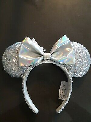 Disney Parks Magic Mirror Holographic Sequin Minnie Mouse Ears Headband NWT NEW