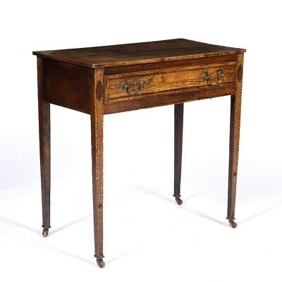 Antique Elm side table 18th century Georgian inlaid with Walnut and Ebony