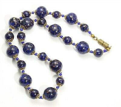 Vintage Art Deco Style Venetian Cobalt Aventurine Foil Art Glass Bead Necklace