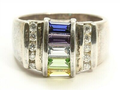 Designer Sterling Silver Ornate Art Deco Style Baguette-cut Rainbow CZ Band Ring