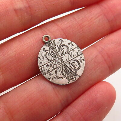 Antique Victorian 925 Sterling Silver Etched Collectible Round Pendant