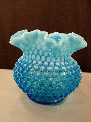 "Fenton Blue Opalescent Hobnail Glass Large Rose Bowl Vase  5"" Tall"