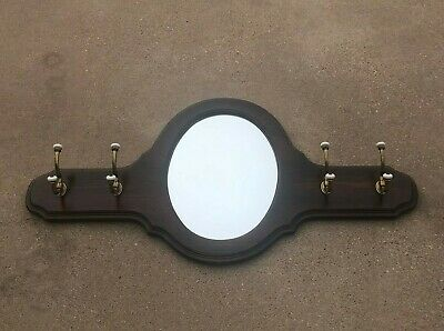 Vintage Ethan Allen Entry Coat / Hat Rack w Mirror  Wall Mount hallway foyer