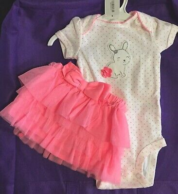 NWT Carter/'s Just One Year 2 pc Pink BUNNY /& TULLE tutu SKIRT NB or 3 or 12 mo