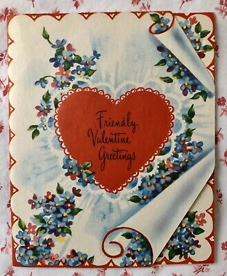 Vintage Mid Century UNUSED Valentine Greeting Card Heart & Forget-Me-Nots NOS