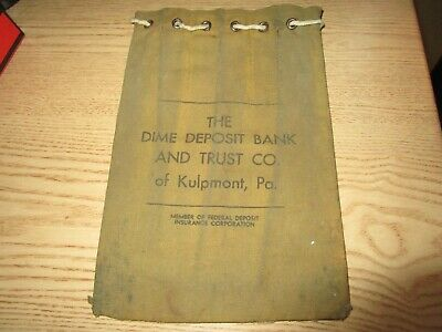 Vtg Kulpmont PA The Dime Deposit Bank and Trust Co., Cloth Bank Bag Draw String