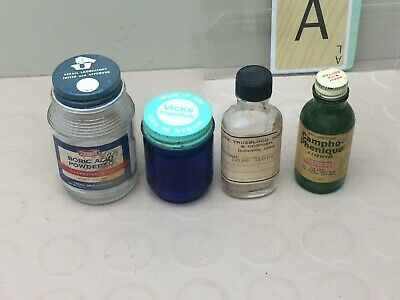 Vintage Rexall Boric Acid - Vics - Campho Phenique - Advertising Medical Bottles