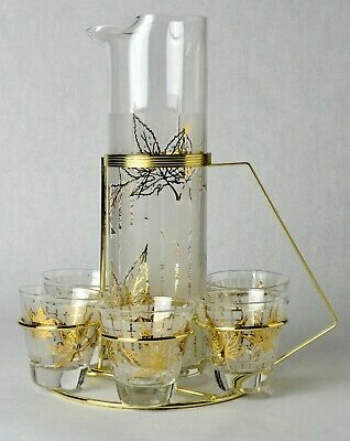 Fred Press Mid-Century Bar Ware Set-Frosted Ice Lip Pitcher, 6 Glasses & Caddy