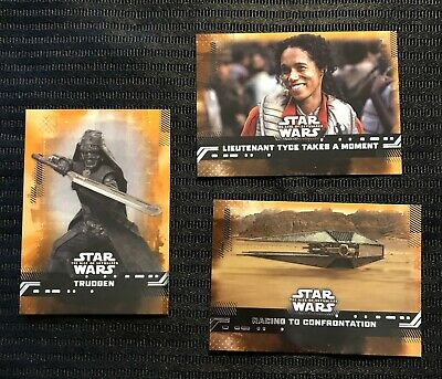 (3) Topps Star Wars Rise of Skywalker GOLD PARALLEL cards lot numbered 99