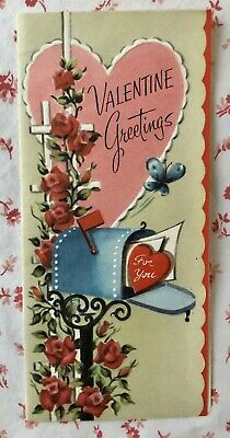 Vintage UNUSED Mid Century Valentine Card Rural Mailbox, Heart Letter, Roses NOS