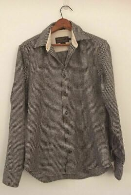 VINTAGE Pendleton Men's Houndstooth Black And White Pure Wool Shirt. SZ Small