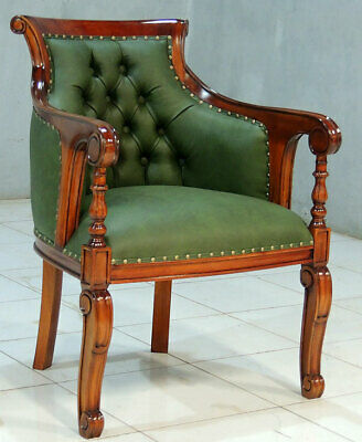 Englischer LESESESSEL, CLASSICAL CHESTERFIELD CHAIR, MAHAGONI STUHL racing-green
