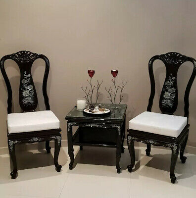 Set of Rosewood Waiting Chairs And Table, Western Pacific Mother Of Pearl
