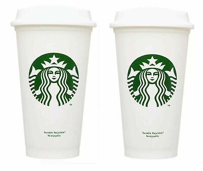 NEW 2X Starbucks Reusable Coffee/Tea Cup Plastic Tumblers **FREE SHIPPING