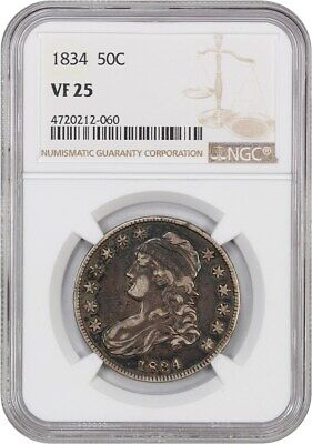 1834 50c NGC VF25 (Large Date, Large Letter) Bust Half Dollar