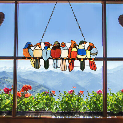 "22.5"" Stained Glass Birds Window Panel Tiffany Hanging Sun Catcher w/Chain"
