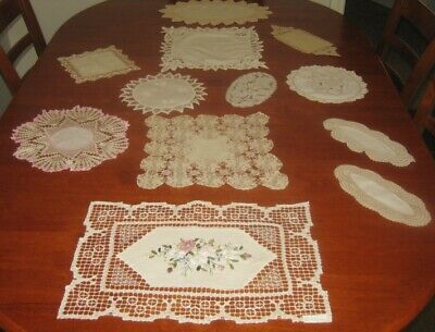 12 Vintage Doilies ~ Cotton ~ Lace Edged ~ Shades Of Cream/Beige/Pink