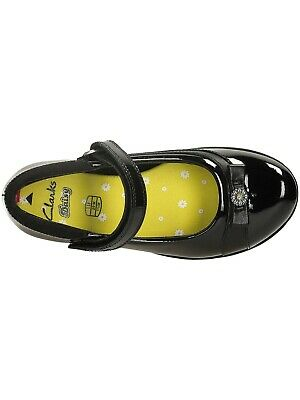 Clarks girls Black Leather school Shoes size Uk 10 -12