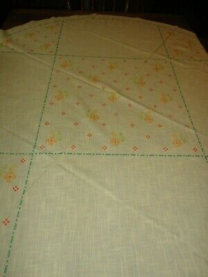 """Tablecloth 58"""" Round Vintage Linen Hand Embroidered Cross Stitch Yellow"""