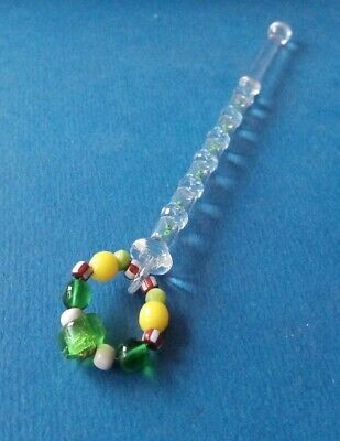 Clear Glass Bobbin. With Tiny Green Beads In Compartments Inside Shank.Spangles.