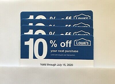 4 Lowe's Blue Card 10% Off For Home Depot + Other Comp Not Lowe's  Exp 07/15/20