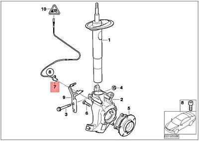 For BMW Genuine ABS Wheel Speed Sensor Front Right 34527853583
