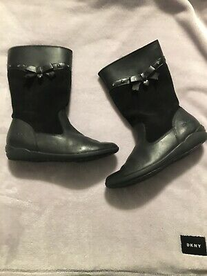 girls black leather clarks boots uk size 2f