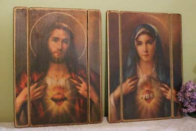 Sacred Heart Jesus Immaculate Heart Mary 2pc Picture Plaque Wood 11x15 Wall Deco