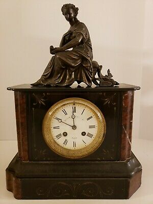 Antique Working 1800's Japy Freres French Victorian Mantel Clock w/Statue Topper