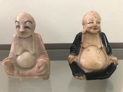 2 Vintage Antique Chinese Marble Hand Carved Buddha Figure Figurines