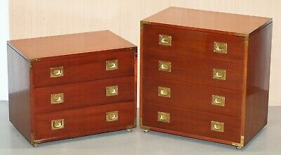 Pair Of Mahogany Military Campaign Style Chests Of Drawers Nice Sizes Any Room