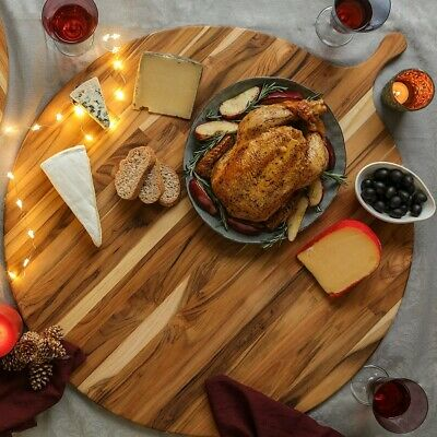 """Teakhaus by Proteak 22"""" Round Atlas Serving Board with Handle"""