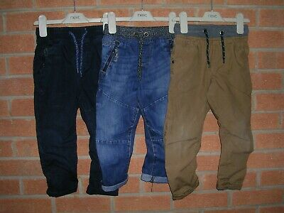 NEXT Boys Three Pairs Blue Denim Brown Navy Cotton Jeans Age 3 98cm