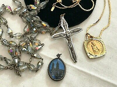 3 Vintage UniQue AB CrYstal GLASS ROSARY Beads St Anne de Beaupre MeDals Chain