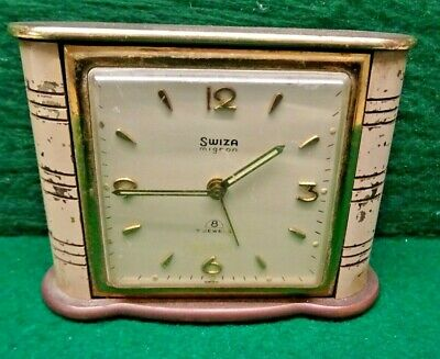 Swiza Mignon 8 Brass And Enamel Alarm Clock 7 Jewels - Needs Attention.