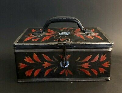 Antique 19C Toleware Tin Painted Lock/Document Bucher Box VIBRANT