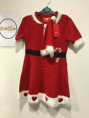 primark christmas girls knitted red santa costume dress with hat outfit 7-15 yrs