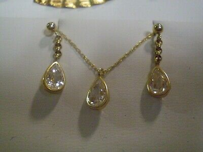 14K Yellow Gold Ladies White Sapphire Necklace & Earring Set       2.1 grams