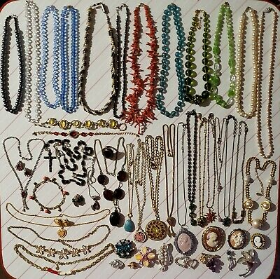 Antique Vintage Jewelry Estate Lot 925 Sterling Cameos Brooches Gemstones 50 pc