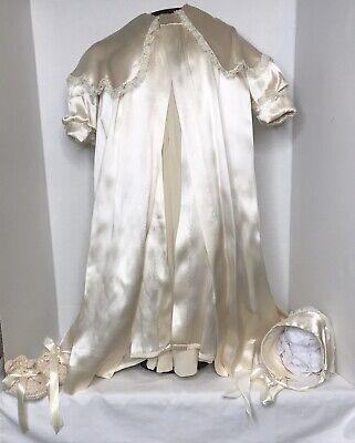 Antique Vintage Christening Gown Robe, Gown Slip Bonnet Booties Beautiful Doll