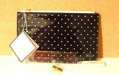 NWT Kate Spade LARABEE Dot Pencil Pouch + Ruler Eraser and Sharpener SHIP FREE