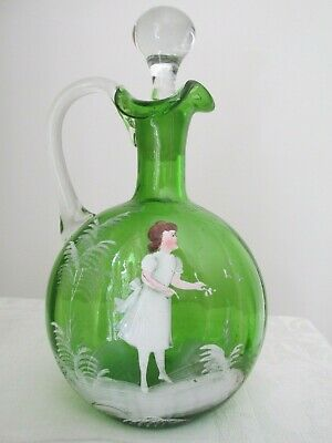 Lovely Antique Green Mary Gregory Decanter Girl and Ferns