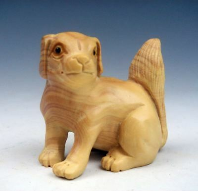 Boxwood Hand Carved Netsuke Sculpture Miniature Cute Puppy Dog Tail Up #01211709