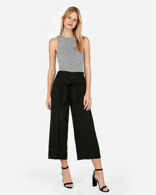 Express super high waisted knot cropped culottes Sz 4 Pitch Black