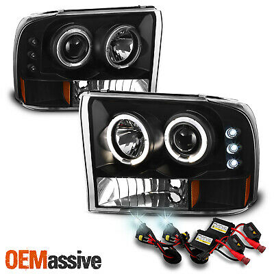 Fit 99-04 F-Series SuperDuty Excursion Black Halo Projector Headlights+6000K HID