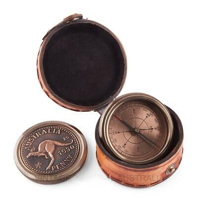 Brass Australian Penny Compass With Embossed Leather Case
