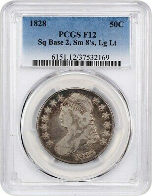 1828 50c PCGS F12 (Sq Base 2, Sm 8, Lg Let.) Bust Half Dollar